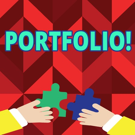 Text sign showing Portfolio. Conceptual photo Examples of work used to apply for a job Combination of shares