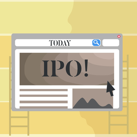 Writing note showing Ipo. Business photo showcasing Initial Public Offering First time stock of company is offered to public