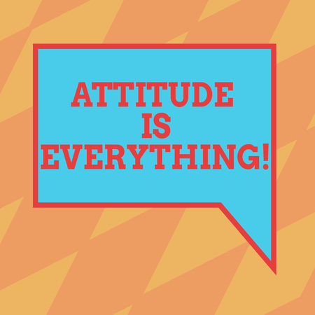 Photo pour Text sign showing Attitude Is Everything. Conceptual photo Motivation Inspiration Optimism important to succeed Blank Rectangular Color Speech Bubble with Border photo Right Hand - image libre de droit