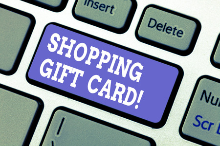Photo pour Text sign showing Shopping Gift Card. Conceptual photo piece of paper that you buy at shop and give to someone Keyboard key Intention to create computer message pressing keypad idea - image libre de droit
