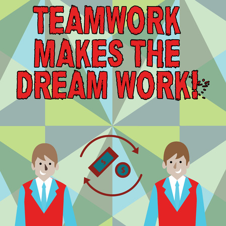 Conceptual hand writing showing Teamwork Makes The Dream Work. Concept meaning Camaraderie helps achieve success
