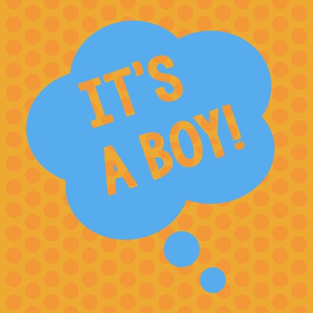 Photo pour Writing note showing It S A Boy. Business concept for Male baby is coming Gender reveal Celebration Floral Shape Thought Speech Bubble for Presentation Ads - image libre de droit