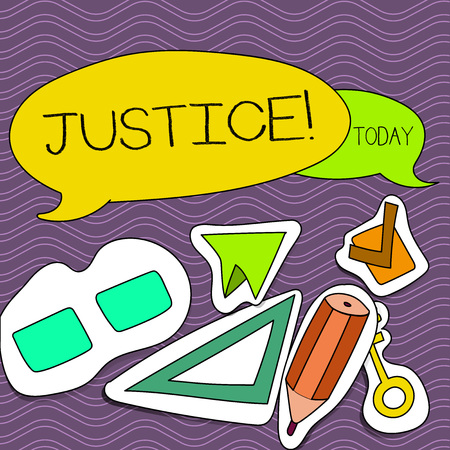 Word writing text Justice. Business photo showcasing Quality of being just impartial or fair Administration of law rules Two Blank Colorful Speech Balloon and Different Labels Sticker Style Icons