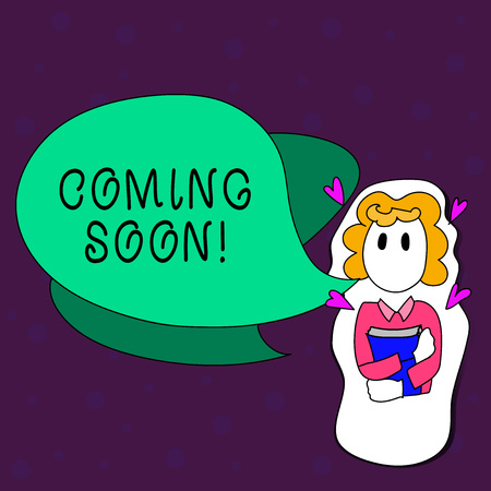 Text sign showing Coming Soon. Business photo text event or action that will happen after really short time Girl Holding Book with Small Hearts Around her and Two Color Speech Bubble
