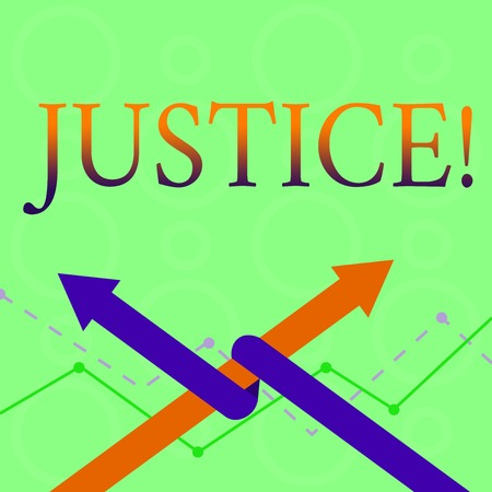 Conceptual hand writing showing Justice. Concept meaning Quality of being just impartial or fair Administration of law rules Two Arrows One Intertwined to Other Team Up or Competition