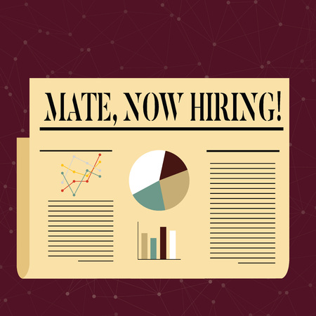 Conceptual hand writing showing Mate Now Hiring. Concept meaning Workforce Wanted Employees Recruitment Colorful Layout Design Plan of Text Line, Bar and Pie Chart