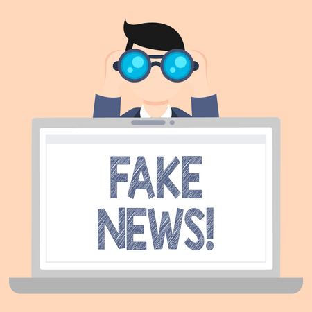 Foto de Writing note showing Fake News. Business concept for false stories that appear to spread on internet using other media Man Holding and Looking into Binocular Behind Laptop Screen - Imagen libre de derechos