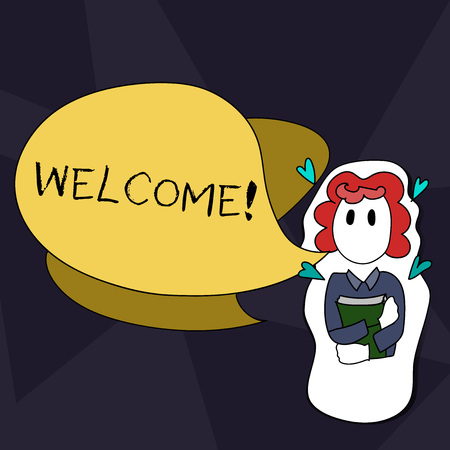 Handwriting text writing Welcome. Conceptual photo Warm salutation acknowledgement for someone amiable loved thanked Girl Holding Book with Small Hearts Around her and Two Color Speech Bubble