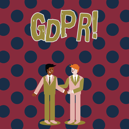 Photo for Writing note showing Gdpr. Business concept for General Data Protection Regulation privacy eu laws compliance Businessmen Smiling and Greeting each other by Handshaking - Royalty Free Image