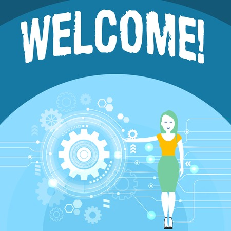 Writing note showing Welcome. Business concept for Warm salutation acknowledgement for someone amiable loved thanked Woman Presenting the SEO Process with Cog Wheel Gear inside