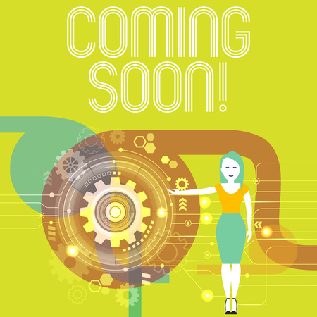 Handwriting text writing Coming Soon. Conceptual photo event or action that will happen after really short time Woman Standing and Presenting the SEO Process with Cog Wheel Gear inside
