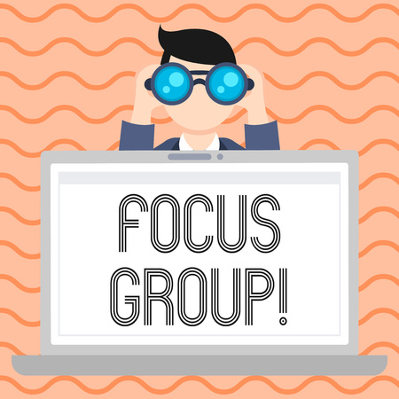 Photo pour Conceptual hand writing showing Focus Group. Concept meaning showing assembled to participate in discussion about product Man Holding and Looking into Binocular Behind Laptop Screen - image libre de droit