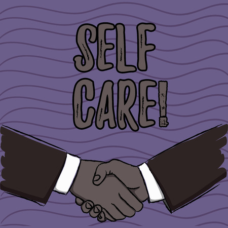 Word writing text Self Care. Business photo showcasing practice of taking action preserve or improve ones own health Businessmen Shaking Hands Firmly as Gesture Form of Greeting and Agreement