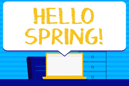 Conceptual hand writing showing Hello Spring. Concept meaning Welcoming season comes after winter Blossoming of plantes Blank Huge Speech Bubble Pointing to the White Laptop Screen