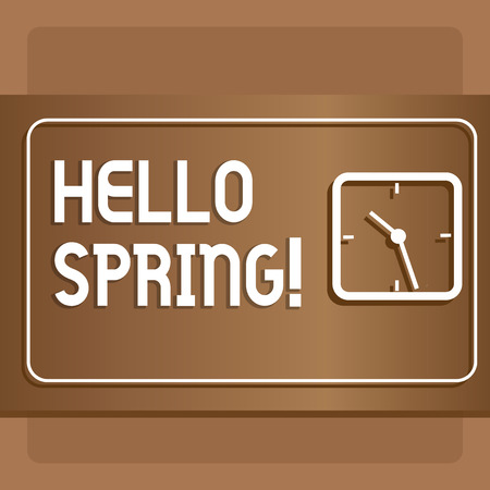 Text sign showing Hello Spring. Business photo text Welcoming season comes after winter Blossoming of plantes Modern Design of Transparent Square Analog Clock on Two Tone Pastel Backdrop