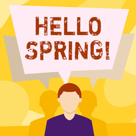 Conceptual hand writing showing Hello Spring. Concept meaning Welcoming season comes after winter Blossoming of plantes Faceless Man has Two Shadows with Speech Bubble Overlapping
