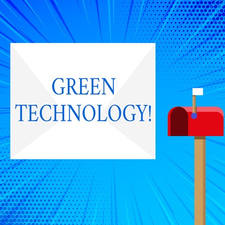 Photo for Handwriting text Green Technology. Conceptual photo mitigate reverse effects of huanalysis activity on environment Blank Big White Envelope and Open Red Mailbox with Small Flag Up Signalling - Royalty Free Image