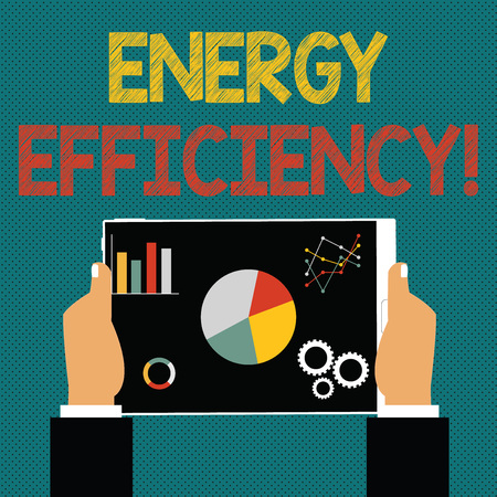 Photo for Writing note showing Energy Efficiency. Business concept for means using less energy to provide same services Hands Holding Tablet with Search Engine Optimization on the Screen - Royalty Free Image