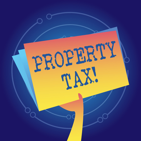 Writing note showing Property Tax. Business concept for bills levied directly on your property by government Hand Holding Blank Space Color File Folder with Sheet Inside