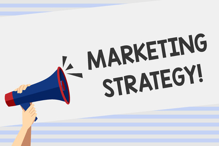 Writing note showing Marketing Strategy. Business concept for plan of action promote and sell product or service Human Hand Holding Megaphone with Sound Icon and Text Space