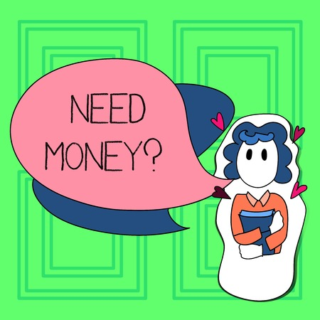 Foto de Word writing text Need Money Question. Business photo showcasing when you ask someone if he needs cash from you Girl Holding Book with Small Hearts Around her and Two Color Speech Bubble - Imagen libre de derechos