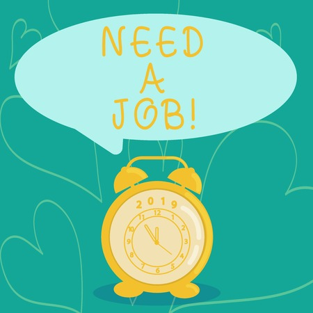 Foto de Handwriting text writing Need A Job. Conceptual photo ask demonstrating if he needs regularly work in order earn money Round Blank Speech Balloon in Pastel Shade and Colorful Analog Alarm Clock - Imagen libre de derechos