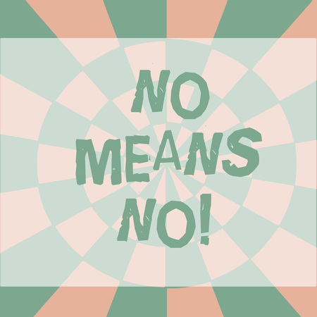 Text sign showing No Means No. Business photo showcasing when you are answering demonstrating with complete denying something Seamless Circles in Yellow on Violet Surface Flat Style Geometrical Pattern