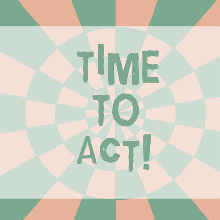 Text sign showing Time To Act. Business photo showcasing this is right moment to take action or do something good Seamless Circles in Yellow on Violet Surface Flat Style Geometrical Pattern