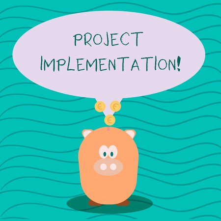 Photo pour Text sign showing Project Implementation. Business photo text phase where visions and plans become reality Color Speech Bubble with Gold Euro Coins on its Tail Pointing to Piggy Bank - image libre de droit