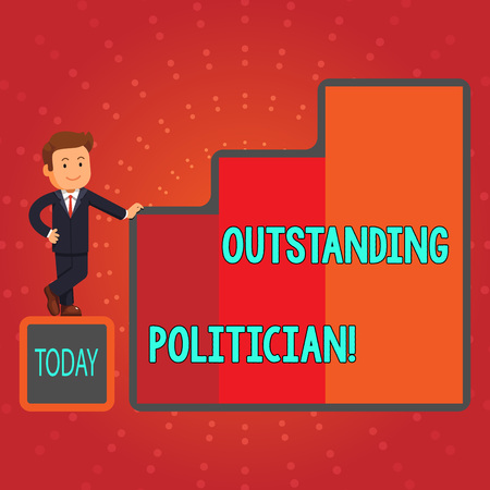 Photo for Writing note showing Outstanding Politician. Business concept for Having good character of a great leader of a society Businessman Presenting Growth and Success in Graph Columns - Royalty Free Image