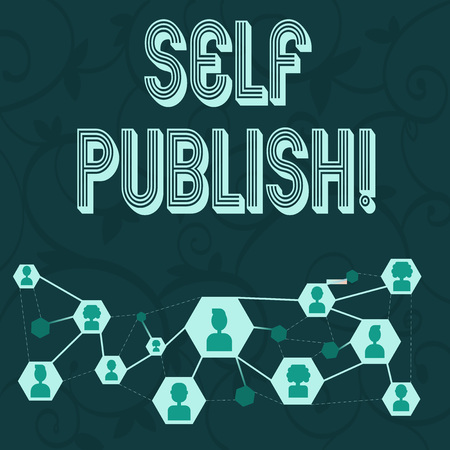 Photo pour Conceptual hand writing showing Self Publish. Concept meaning writer publish piece of ones work independently at own expense Chat icons with Avatar Connecting Lines for Networking Idea - image libre de droit