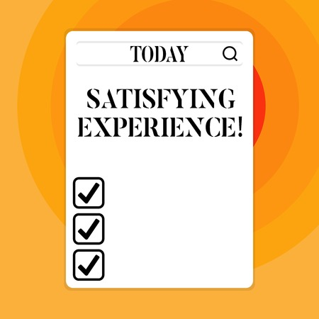 Text sign showing Satisfying Experience. Business photo showcasing making you feel pleased and fulfilling experience Search Bar with Magnifying Glass Icon photo on Blank Vertical White Screen