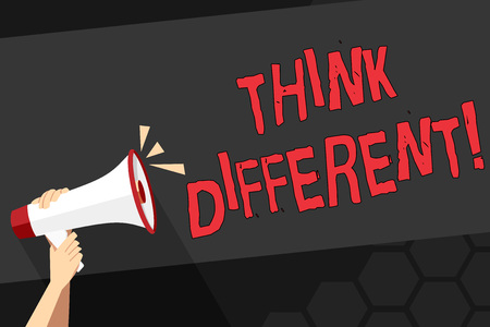 Photo for Text sign showing Think Different. Business photo showcasing direct ones mind towards someone or something uniquely Human Hand Holding Tightly a Megaphone with Sound Icon and Blank Text Space - Royalty Free Image