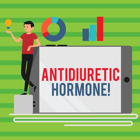 Photo pour Word writing text Antidiuretic Hormone. Business photo showcasing peptide molecule that is release by the pituitary gland Man Leaning on Blank Smartphone Turned on Its Side with Graph and Idea Icon - image libre de droit