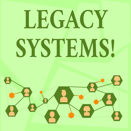 Photo pour Writing note showing Legacy Systems. Business concept for old method technology computer system or application program Chat icons with Avatar Connecting Lines for Networking Idea - image libre de droit