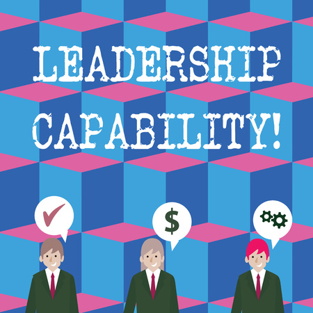 Writing note showing Leadership Capability. Business concept for ability to influence to lead others successfully Businessmen has Speech Bubble with Optimization Cost Icons