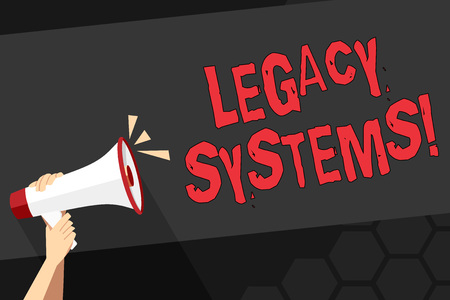 Photo pour Text sign showing Legacy Systems. Business photo showcasing old method technology computer system or application program Human Hand Holding Tightly a Megaphone with Sound Icon and Blank Text Space - image libre de droit