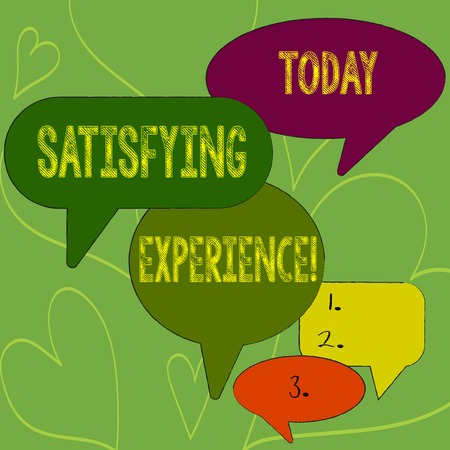Writing note showing Satisfying Experience. Business concept for making you feel pleased and fulfilling experience Speech Bubble in Different Sizes and Shade Group Discussion