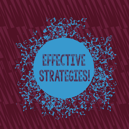 Photo pour Handwriting text writing Effective Strategies. Conceptual photo A method or plan chosen to bring about a desired future Disarrayed and Jumbled Musical Notes Icon Surrounding Blank Colorful Circle - image libre de droit