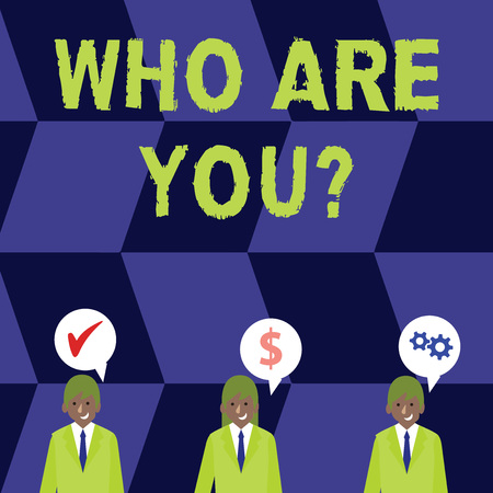 Word writing text Who Are You question. Business photo showcasing asking about demonstrating identity or demonstratingal information Businessmen Each has their Own Speech Bubble with Optimization Cost Icons