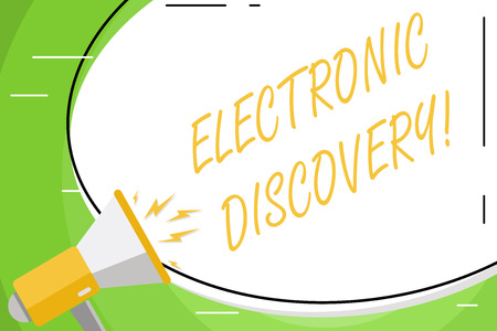 Text sign showing Electronic Discovery. Business photo showcasing discovery in legal proceedings such as litigation Blank White Huge Oval Shape Sticker and Megaphone Shouting with Volume Icon