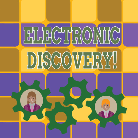 Word writing text Electronic Discovery. Business photo showcasing discovery in legal proceedings such as litigation Two Business People Each Inside Colorful Cog Wheel Gears for Teamwork Event