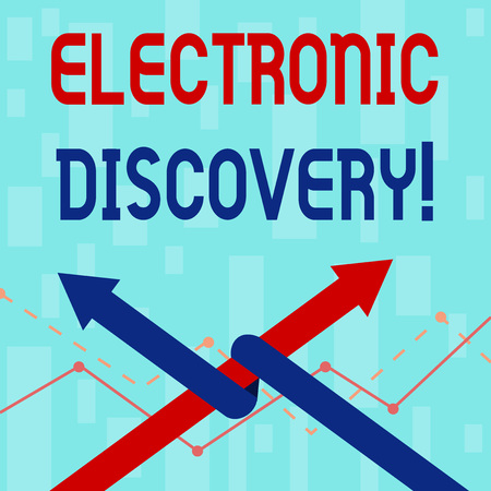 Writing note showing Electronic Discovery. Business concept for discovery in legal proceedings such as litigation Two Arrows One Intertwined to Other Team Up or Competition