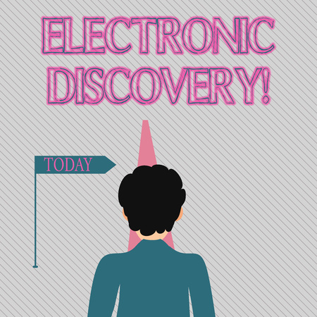 Text sign showing Electronic Discovery. Business photo text discovery in legal proceedings such as litigation Man Facing the Distance Ahead and Blocking the View of Straight Narrow Path