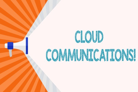 Text sign showing Cloud Communications. Business photo text the internetbased voice and data communications Megaphone Extending the Capacity of Volume Range thru Blank Space Wide Beam