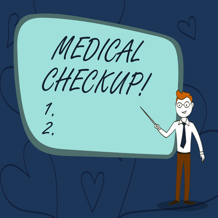 Text sign showing Medical Checkup. Business photo text thorough physical examination includes variety of tests Confident Man in Tie, Eyeglasses and Stick Pointing to Blank Colorful Board
