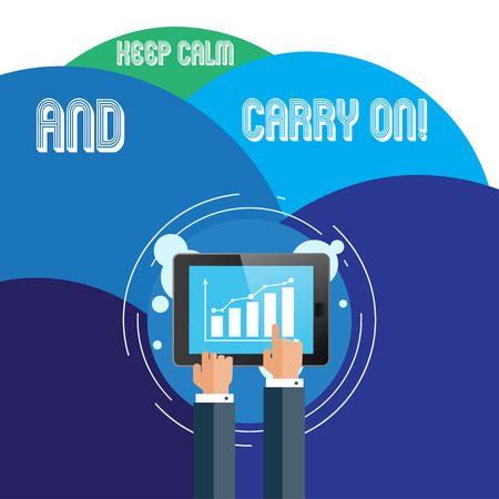 Handwriting text Keep Calm And Carry On. Conceptual photo slogan calling for persistence face of challenge Businessman Hand Touching Pointing to Bar Line Chart on Smartphone Screen