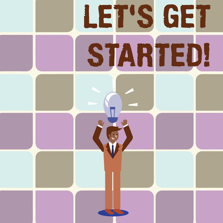 Conceptual hand writing showing Let S Get Started. Concept meaning encouraging someone to begin doing something Businessman Raising Arms Upward with Lighted Bulb icon above