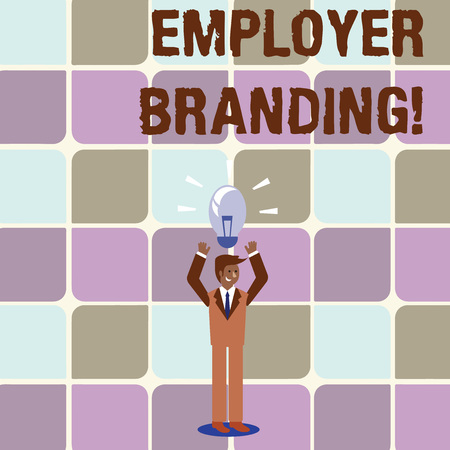 Photo pour Conceptual hand writing showing Employer Branding. Concept meaning promoting company employer choice to desired target group Businessman Raising Arms Upward with Lighted Bulb icon above - image libre de droit