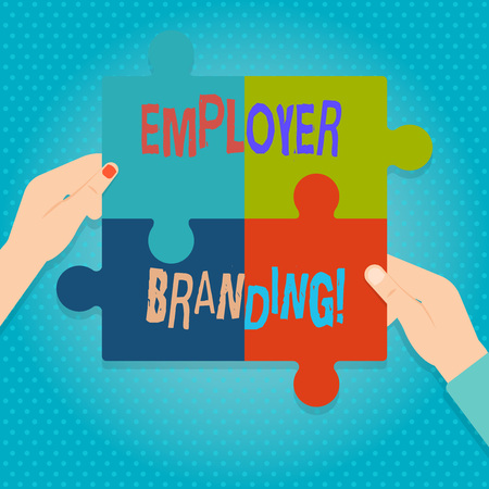 Photo pour Word writing text Employer Branding. Business photo showcasing promoting company employer choice to desired target group Four Blank Multi Color Jigsaw Puzzle Tile Pieces Put Together by Human Hands - image libre de droit